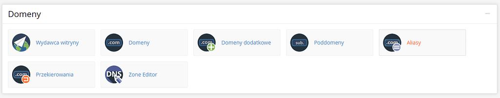 Opcje na domenach w cpanel