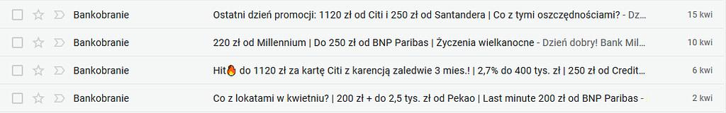 Tytuły email