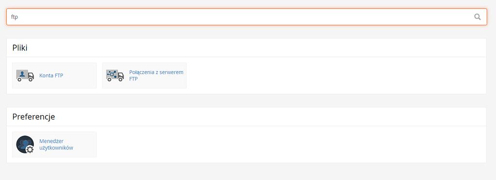 wyszukiwarka w cPanel