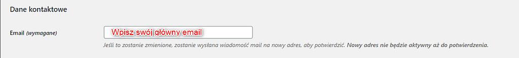 Wpisz główny email